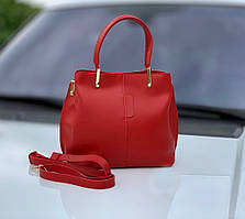Небольшая женская красная сумка на плечо классическая деловая сумочка экокожа