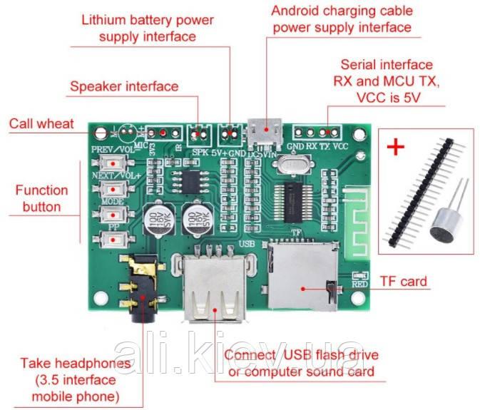 Декодер мультиплеер с Bluetooth ,USB TF МП3 FLAC , микрофон,
