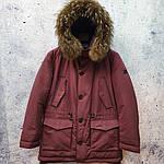 Парку чоловіча зимова з хутром Vivacana 67AW729M. Аляска. Парку бордова., фото 8