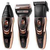 Мужской триммер бритва аккумуляторная для стрижки волос и бороды ProGemei Gold GM-595