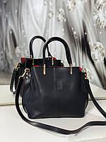 Небольшая женская черная сумка на плечо классическая деловая сумочка экокожа