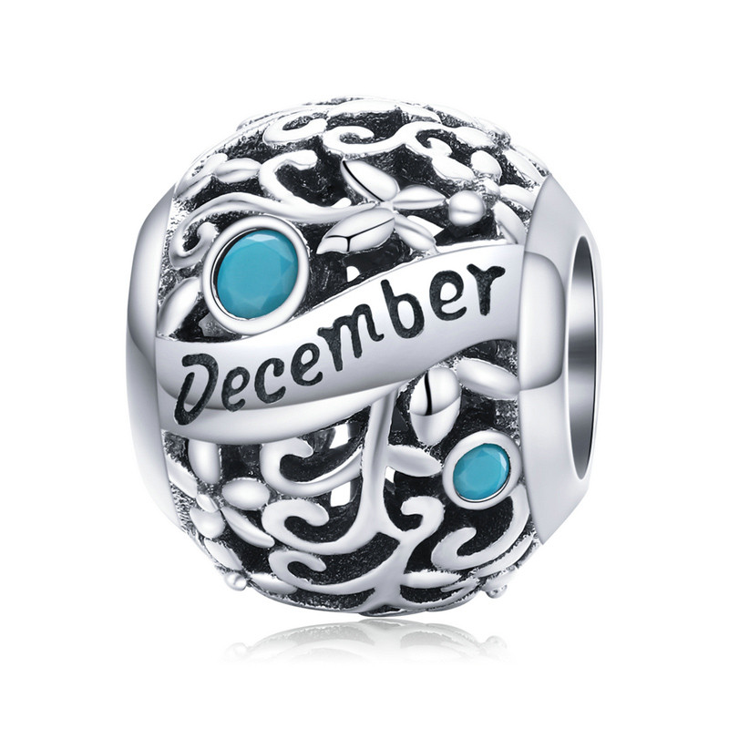 """Шарм """"December"""" (Декабрь) серебро 925 проба, кубический цирконий"""