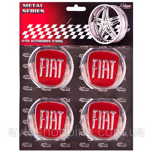 """Наклейки на колпаки, диам. 60 мм """"FIAT"""" красные, (4 шт.)"""