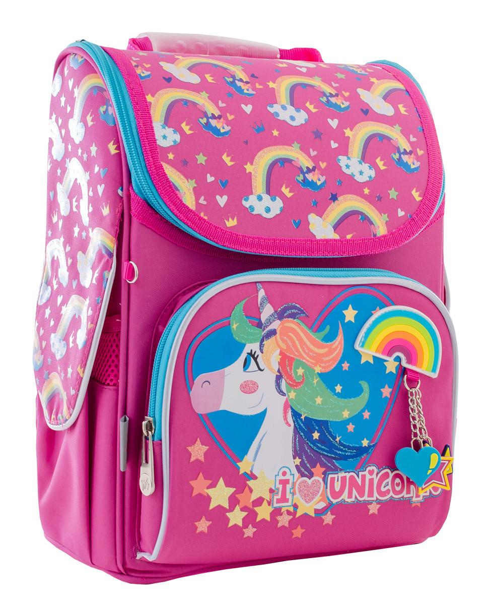 Рюкзак школьный каркасный YES H-11 Unicorn blue, 33.5*26*13.5 555196