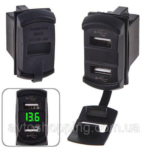 Автомобильное зарядное устройство 2 USB 12-24V врезное + вольтметр (10257 USB-12-24V 2,1A GRE)