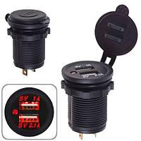 Автомобильное зарядное устройство 2 USB 12-24V врезное в планку  NEW (10249 USB-12-24V 3,1A RED)
