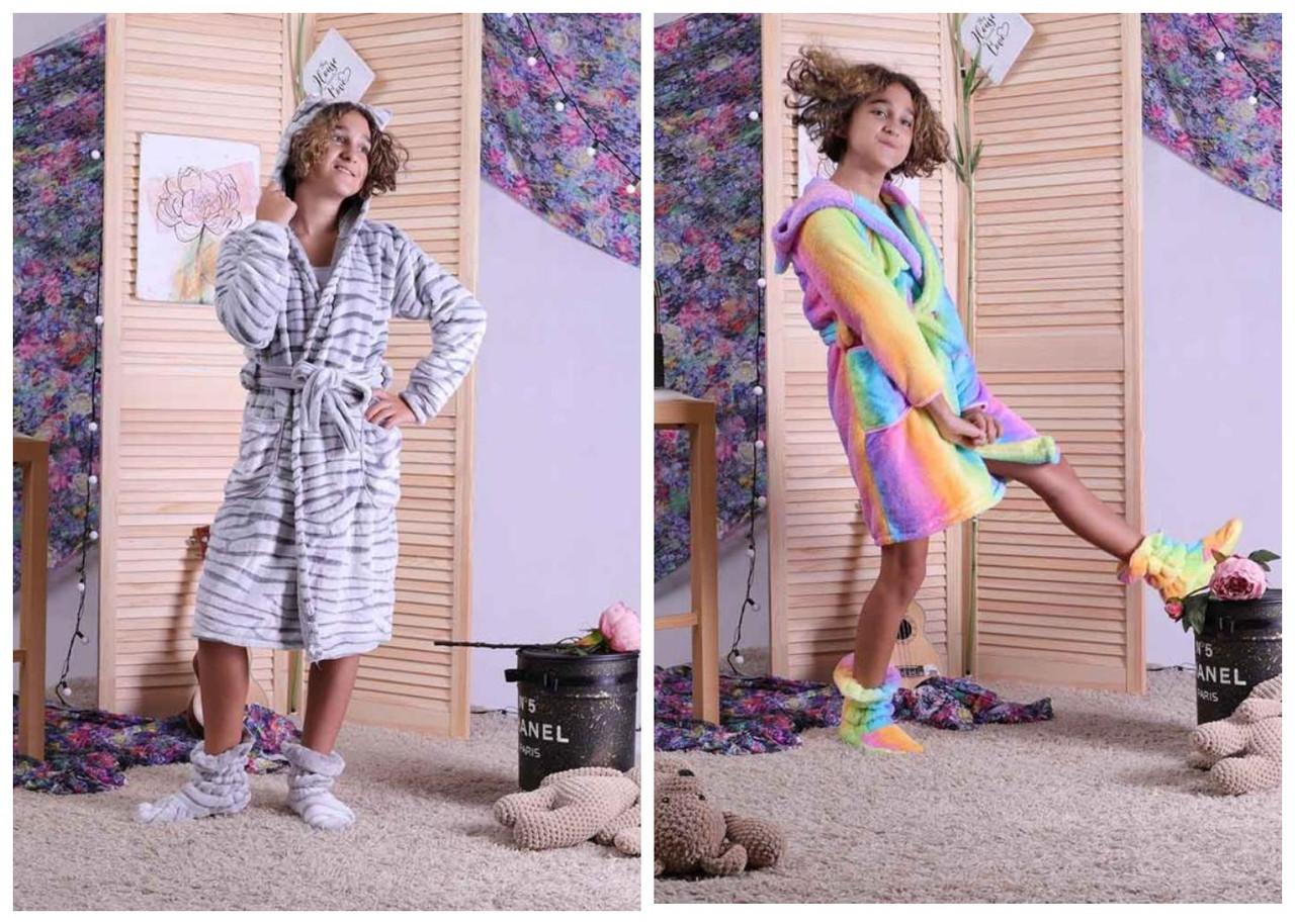 Детский махровый халат на запах с ушками