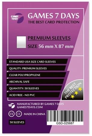 Протекторы для карт Games 7 Days 56х87мм Premium Quality