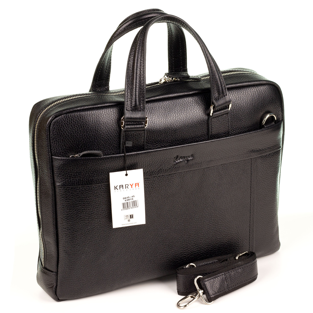 Мужской портфель сумка Karya 0845-45 из мягкой кожи черный