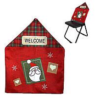 """Новгодний чехол на спинку стула""""Дед Мороз"""" 58*46см.,1шт/этик."""