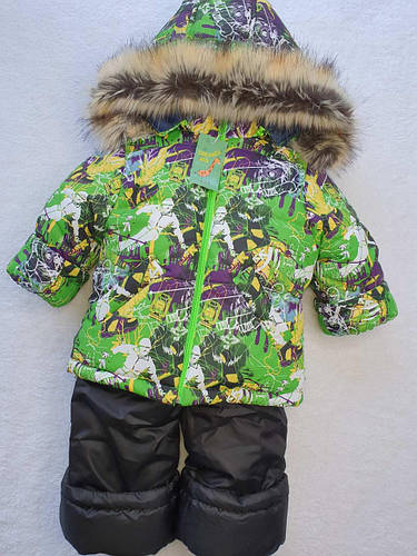 Зимний комбинезон для мальчика зеленого цвета 80-120 р