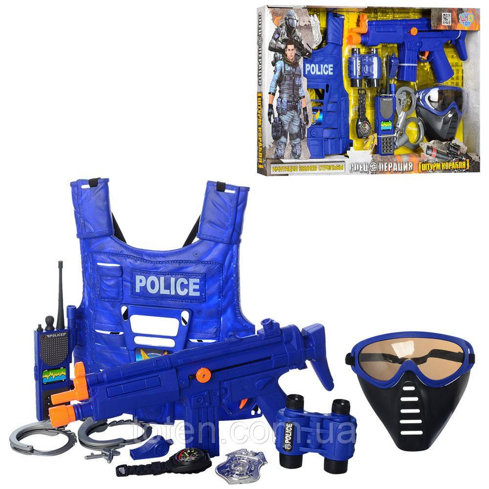 Большой набор полиции. Бронежилет, автомат, маска, часы, рация, жетон, нож, наручники, свисток 33530 Т