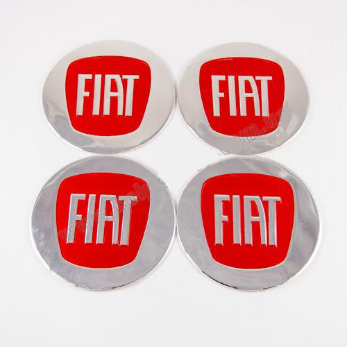 Наклейки для колесных колпачков в легкосплавные диски с логотипом   Fiat красные (90 мм)