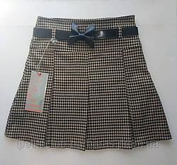 Детская юбка в складку бежево-коричневая (Incity, Турция)