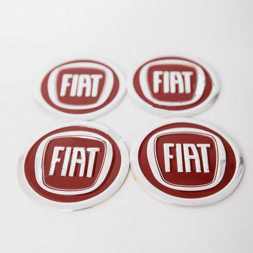 Наклейка для колесного колпачка в диск для колесного колпачка на диски Fiat (60 мм) красные