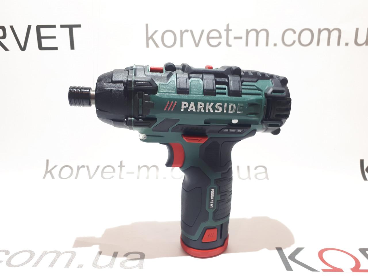Аккумуляторный ударный шуруповерт гайковерт , импакт Parkside 12v PDSSA 12 A1