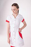 Медицинский халат Ибица белый-красный