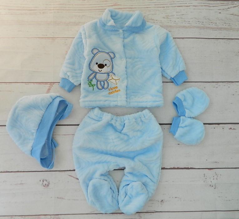 Комплект для новорожденного мальчика 4-х предметный, махра