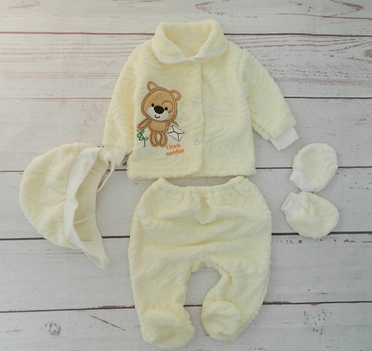 Комплект для новорожденных 4-х предметный, махра