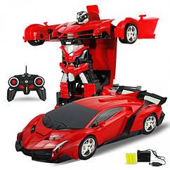 Радиоуправляемая машинка-трансформер маленькая Transforms Lamborghini размер 1:18, цвет красный