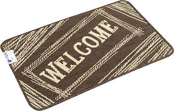 Придверный прямоугольный коврик на резиновой основе Karat Flex Welcome 50х80см Коричневый (19158/91)(6849)
