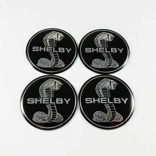 Наклейки для колесных колпачков в легкосплавные диски с логотипом   Shelby черные (56 мм)