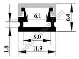 Накладний алюмінієвий профіль разом з розсіювачем 2 м для LED стрічки АЛ-02-1, фото 2