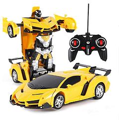 Радиоуправляемая машинка-трансформер Большая Transforms Lamborghini размер 1:12, цвет желтый