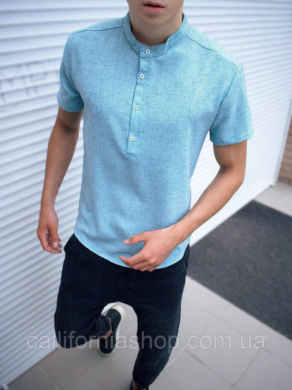 Чоловіча блакитна однотонна сорочка з льону з коротким рукавом без коміра