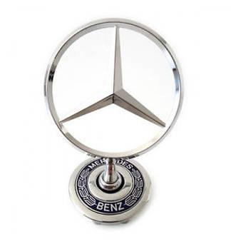 Прицел эмблема на капот Mercedes W210, W202, W220  1994-2007 D=4 см-юбки оригинал врезной с надписью
