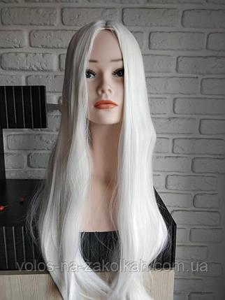 Парик белый белоснежный без челки длинный ровные парики карнавальный  ведьма карнавальные, фото 2