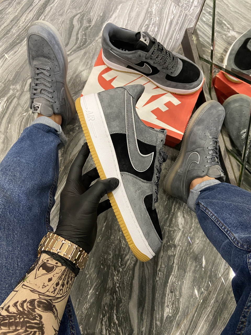 Nike Air Force Luxury Suede Grey Black (Серый)