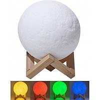 Настільний світильник Magic 3D Moon Light RGB Місяць 12,5 см + пульт, фото 1
