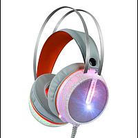Ігрові дротові навушники MISDE G6 зі світлодіодним підсвічуванням Білі з помаранчевим, фото 1