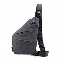Чоловіча водонепронецаемая сумка Cross Body 6016 на плече рюкзак слінг Сірий, фото 1