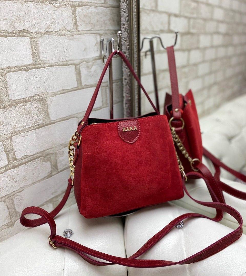 Замшевая женская сумка 3 отделения через плечо сумочка кросс-боди натуральная красная замша+кожзам