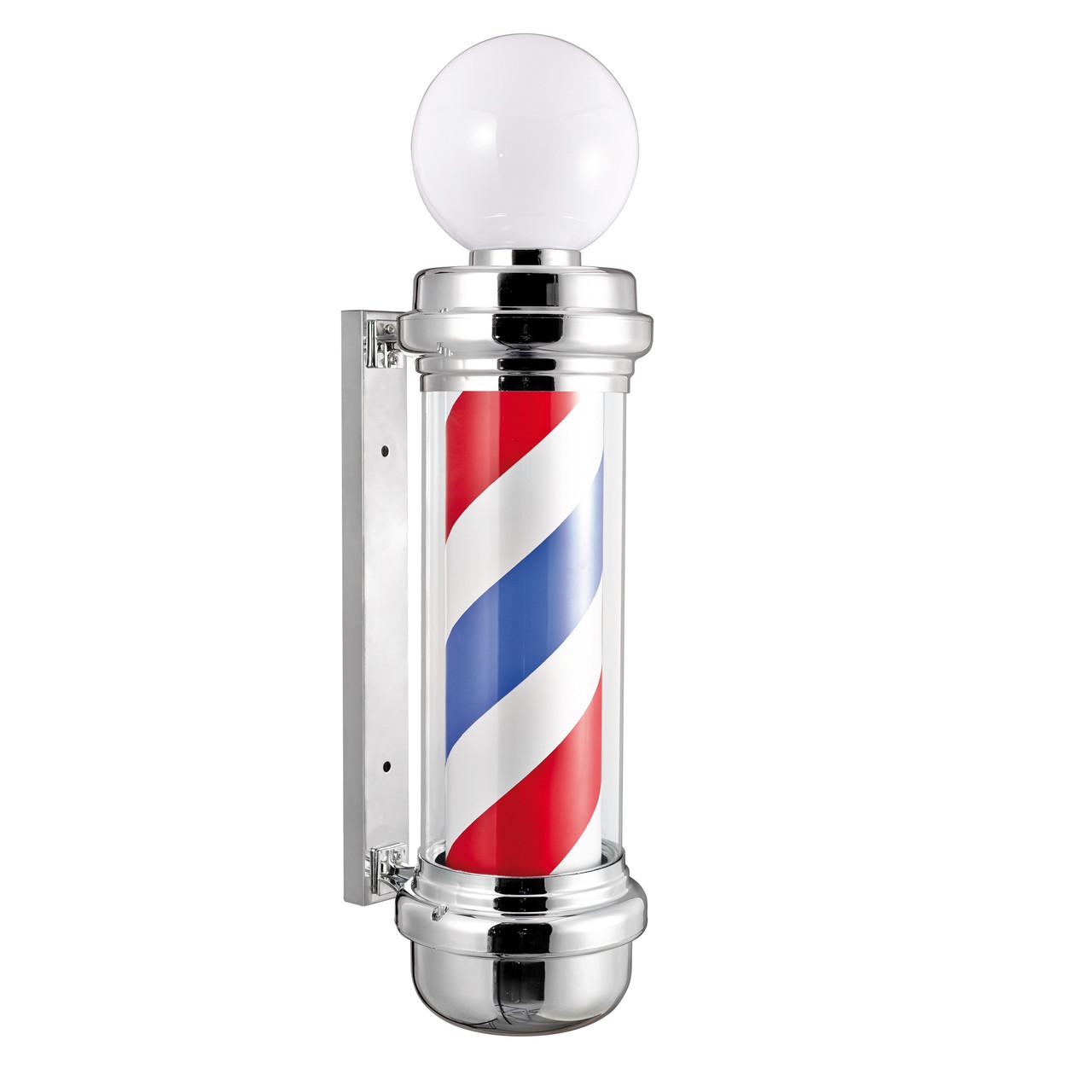 Знак Барбер пул Стійка рекламна Barbers Pole хром з плафоном 85x31x23 см Іспанія