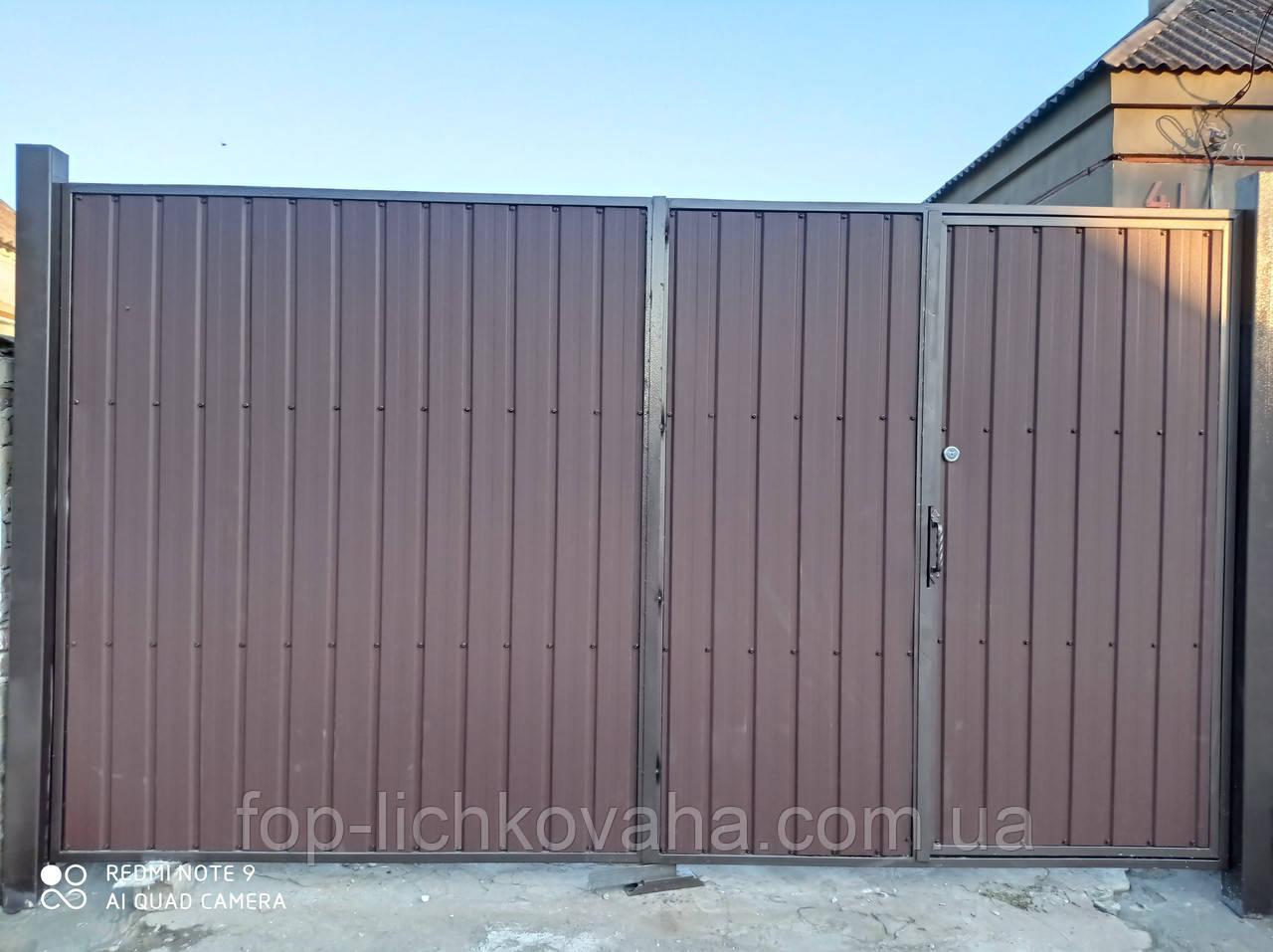 Ворота распашные с двухсторонним профлистом