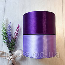 Лента атласная 5 фиолетовая, ширина 5см, цвета разные(1моток-23метра)
