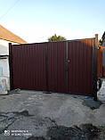 Ворота распашные с двухсторонним профлистом, фото 2