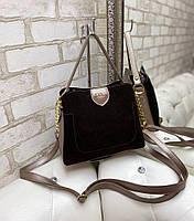 Небольшая замшевая женская сумка через плечо сумочка кросс-боди натуральная коричневая замша+кожзам