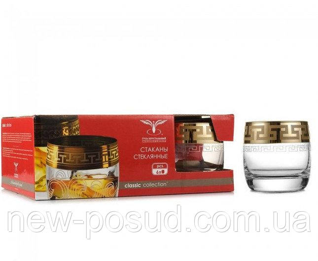 Набор стаканов для виски 6 шт 310 мл Гусь хрустальный Греческий узор EAV03-808