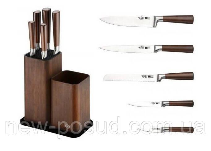 Набор ножей на подставке 6 предметов Krauff Walnuss 26-288-001