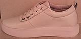 Белые кроссовки женские кожаные от производителя модель РИ034, фото 3