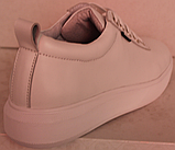 Белые кроссовки женские кожаные от производителя модель РИ034, фото 5