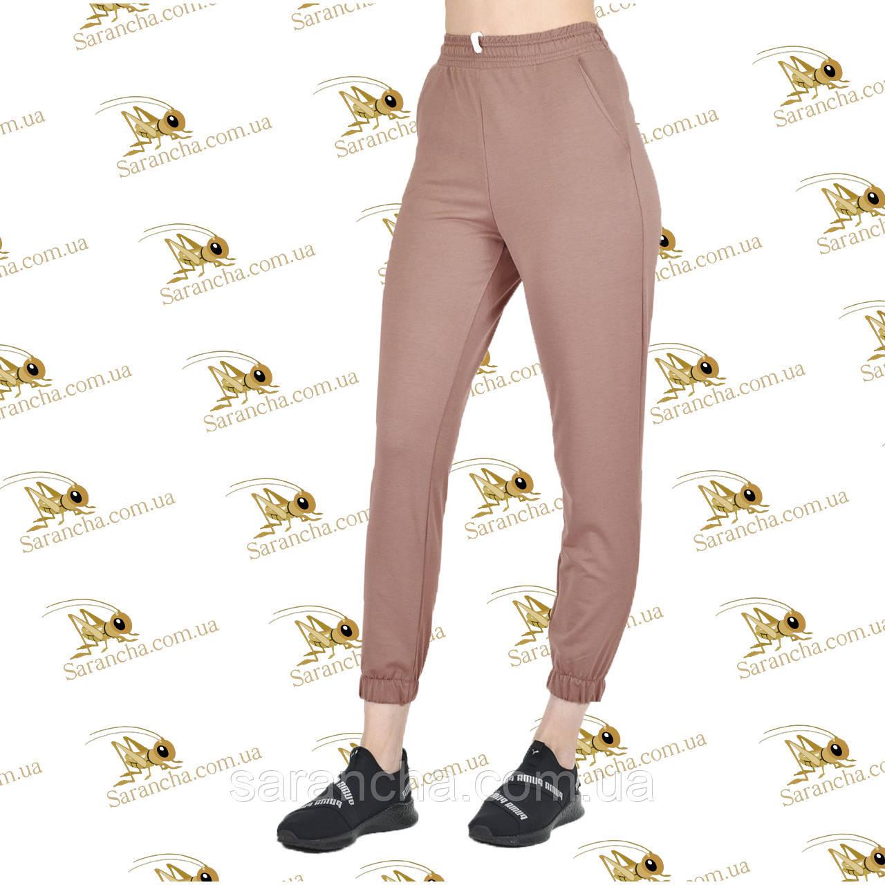Стильні брюки на манжеті двунітка темний беж