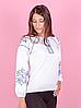 Вышиванка для девочек с длинным рукавом, белая, фото 3