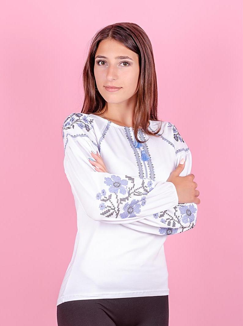 Вышиванка для девочек с длинным рукавом, белая