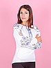 Вышиванка для девочек с длинным рукавом, белая, фото 2