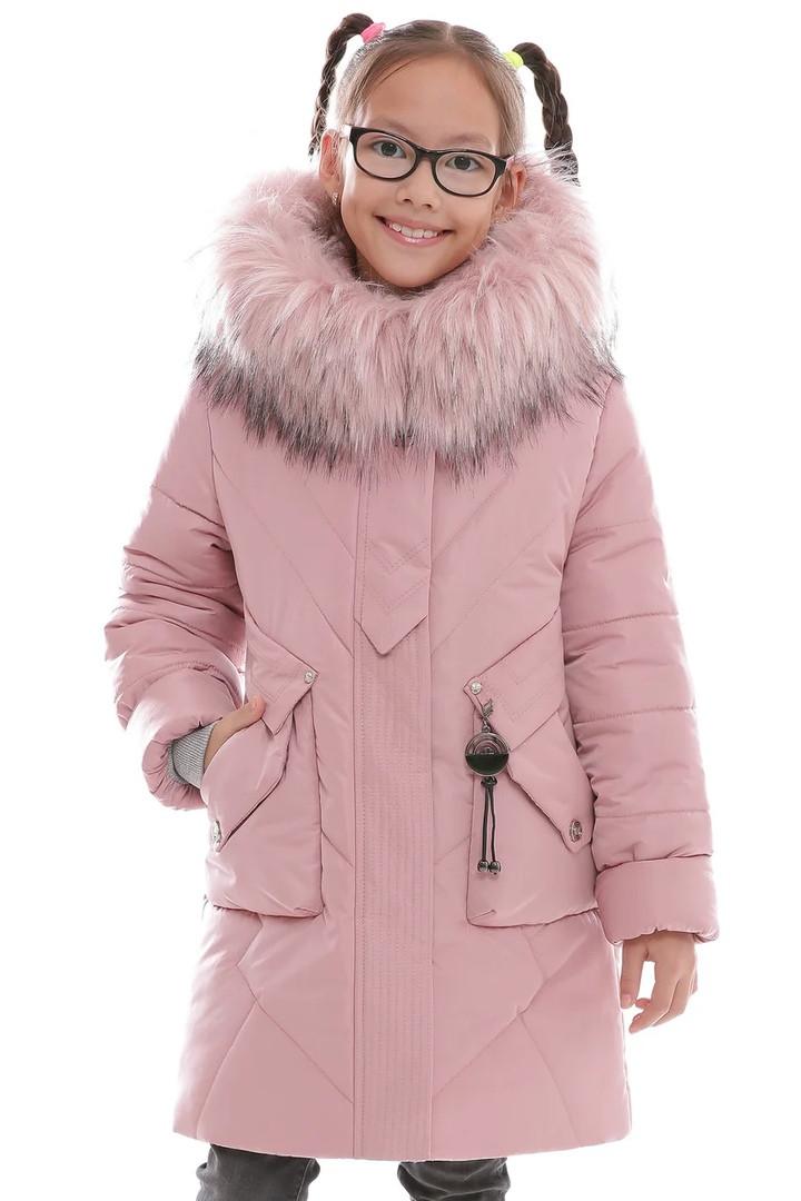 Зимняя детская удлинённая куртка для девочки размеры с 32 по 42